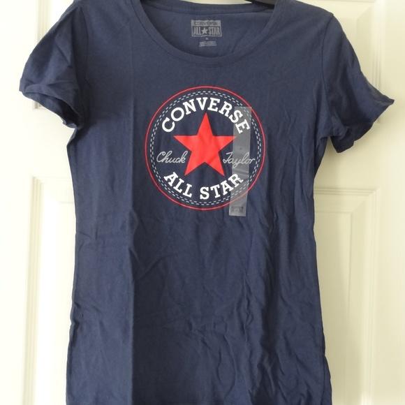 pre order nice cheap exclusive deals Women's Navy Blue Converse Chuck Taylor T-Shirt